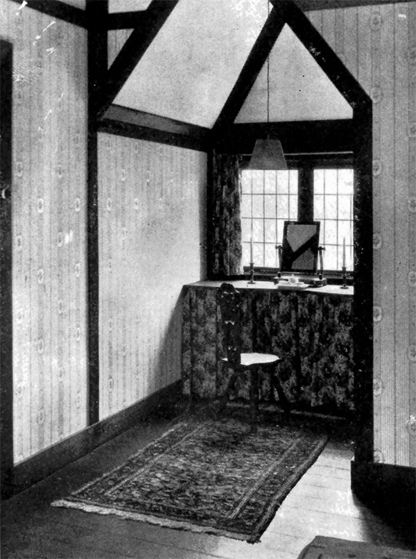 "Original caption: ""The dressing-table is neatly tucked into the dormer."""