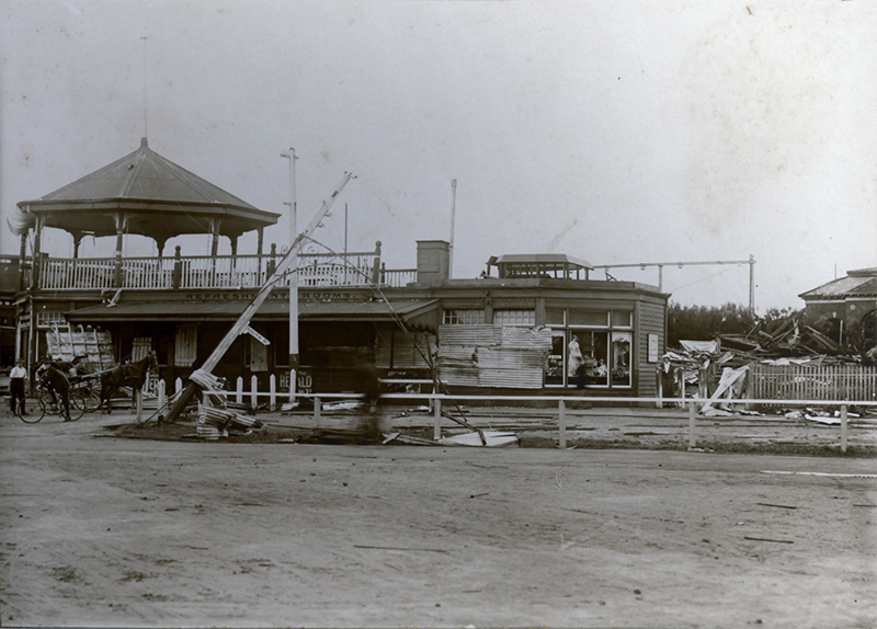 Damage to rotunda, tea rooms and bandstand at Brighton Beach
