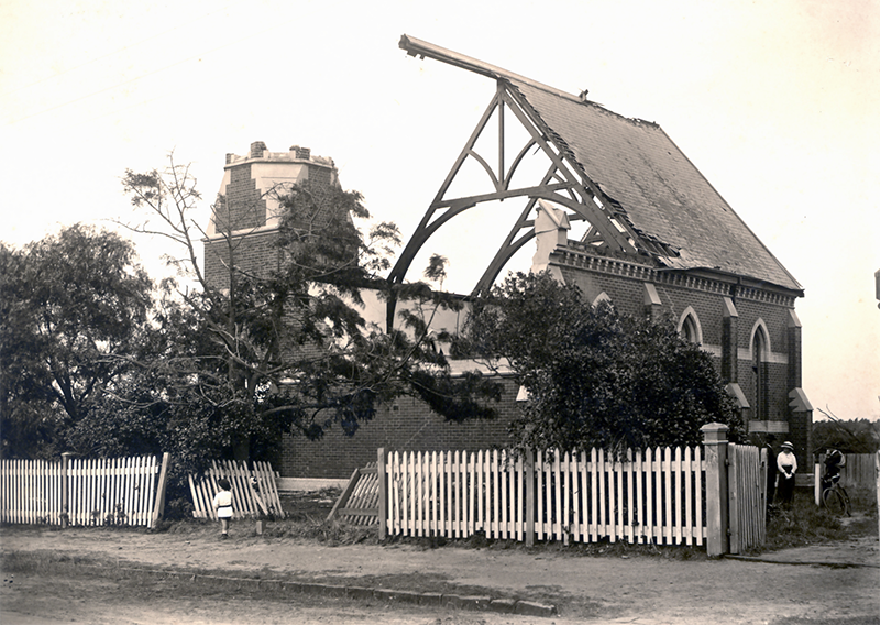 Damage to the Hawthorn Road Methodist Church after the 1918 cyclone