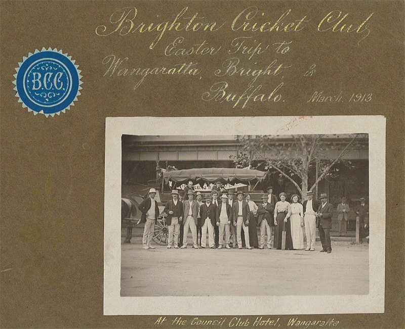 "Photo album, ""Brighton Cricket Club Easter Trip to Wangaratta, Bright and Buffalo"", 1913. Brighton Historical Society collection."